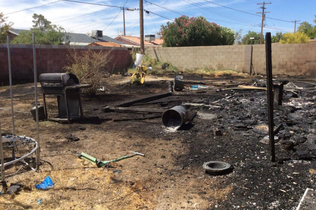 A fire that began on the patio damages a home Sunday, Aug. 18, 2019, on the 2300 block of Willo ...