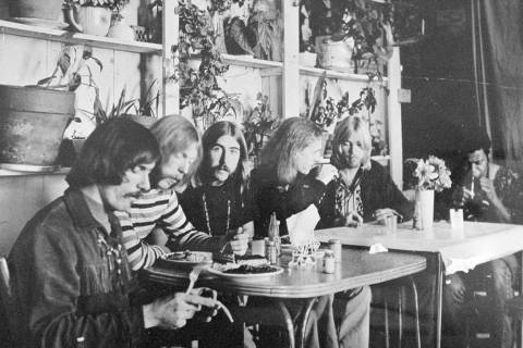 FILE - In this undated file photo, members of the Allman Brothers Band, from left, Dickey Betts ...