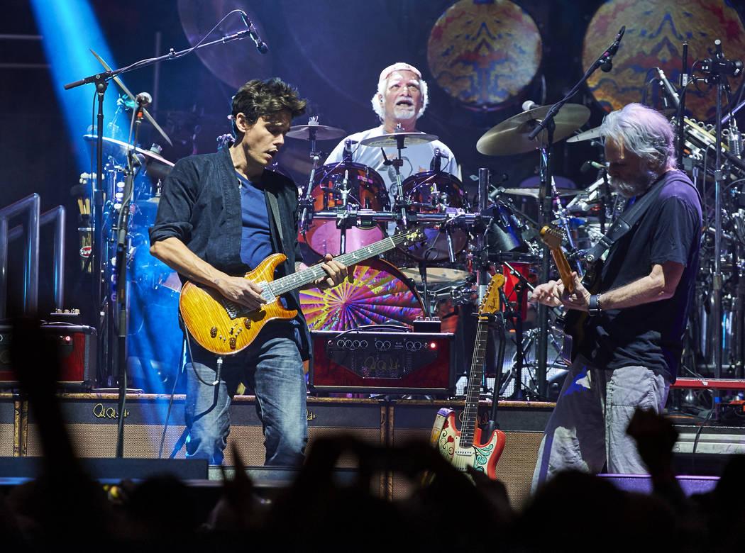 Seen here John Mayer, Bill Kreutzmann , Bob Weir of Dead & Company in concert at New Yo ...