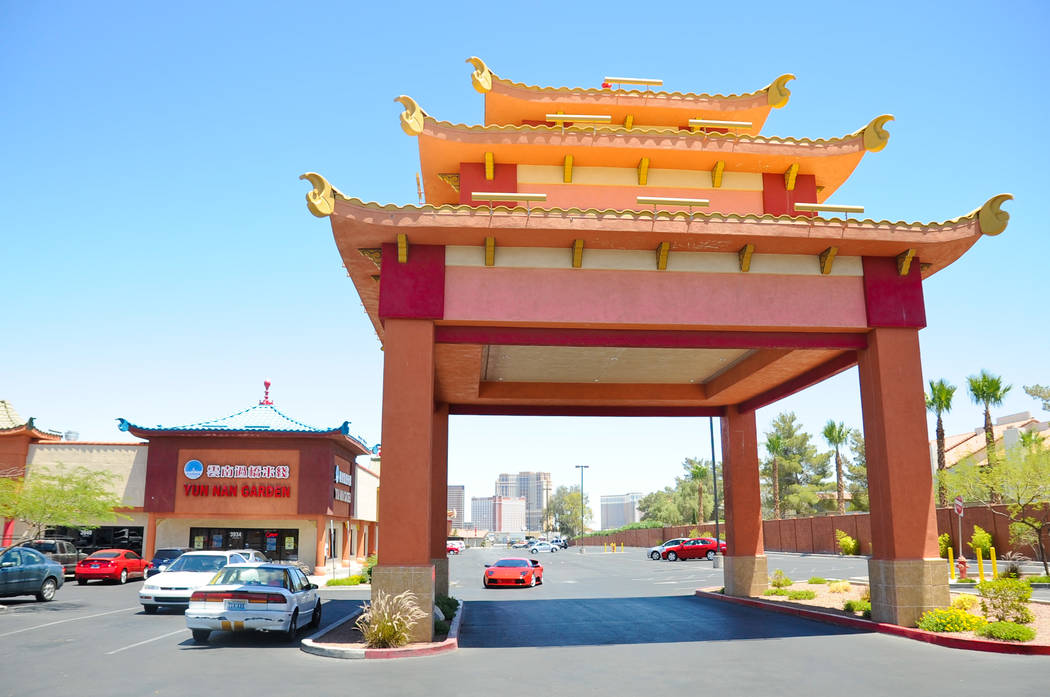 A pagoda style entry way adorns the south side of The Center at Spring Mountain in Las Vegas Mo ...