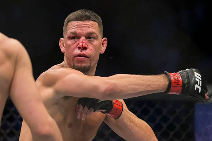 Nate Diaz is seen during UFC 202 in Las Vegas in 2016. (Erik Verduzco/Las Vegas Review-Journal)