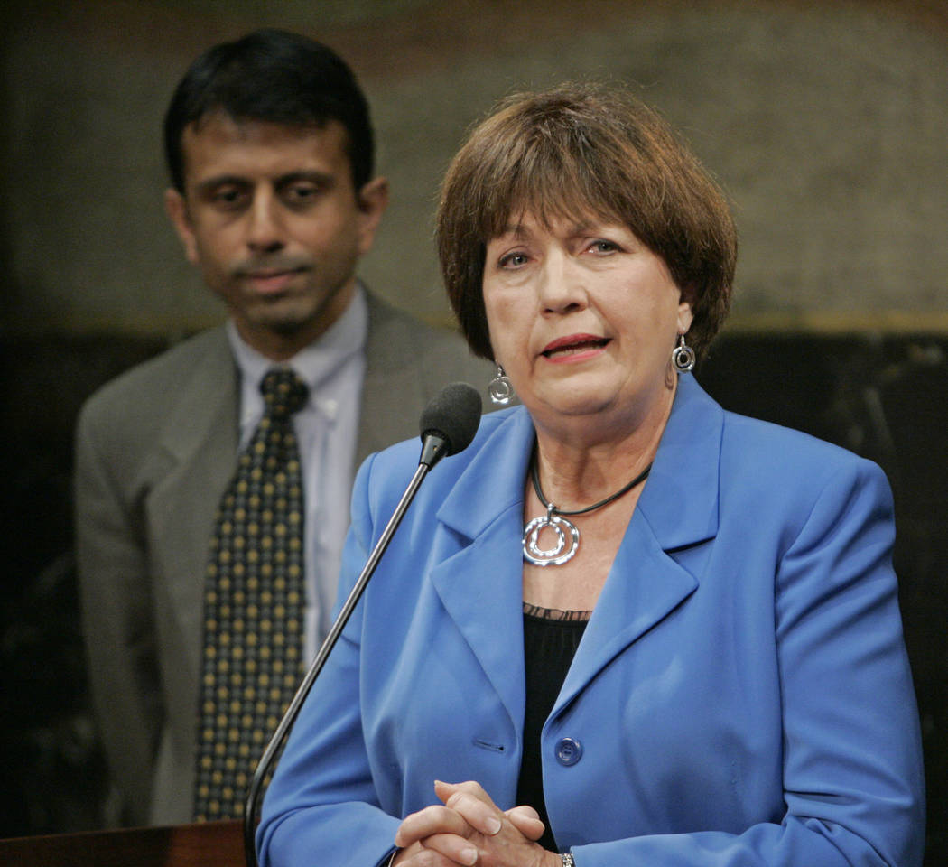 FILE - In this June 11, 2009, file photo, former Louisiana Gov. Kathleen Blanco address a news ...
