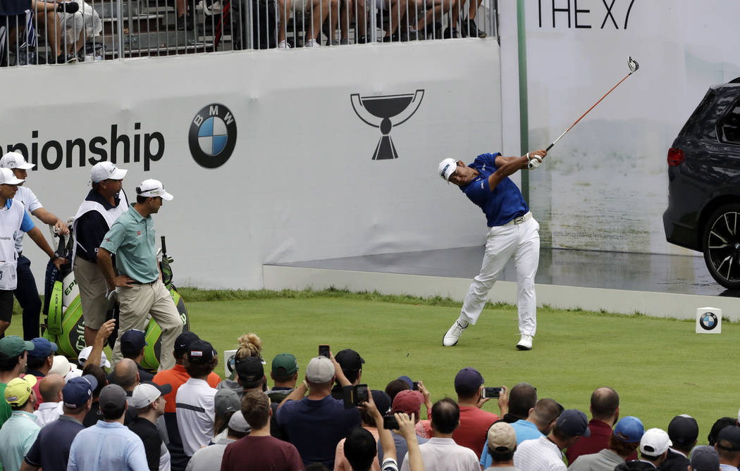 Hideki Matsuyama, of Japan, hits his tee shot on the first hole during the final round of the B ...