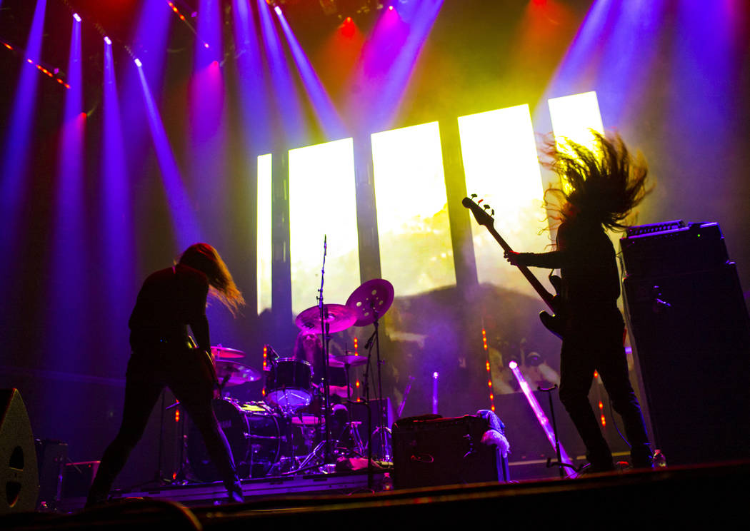 Kevin R. Starrs, left, and Justin Smith, of Uncle Acid & the Deadbeats, performs at the Mandala ...