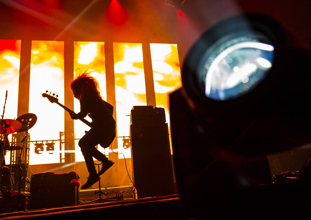 Justin Smith, of Uncle Acid & the Deadbeats, performs at the Mandalay Bay Events Center during ...