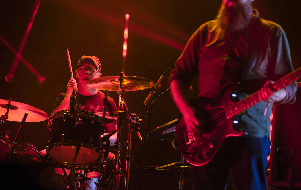 Martin Bulloch, of Mogwai, performs at the Mandalay Bay Events Center during the Psycho Las Veg ...