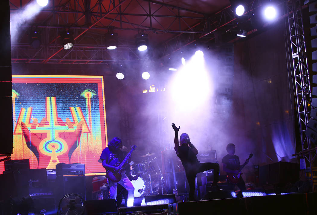 Deafheaven performs at the beach stage during the Psycho Las Vegas music festival at Mandalay B ...
