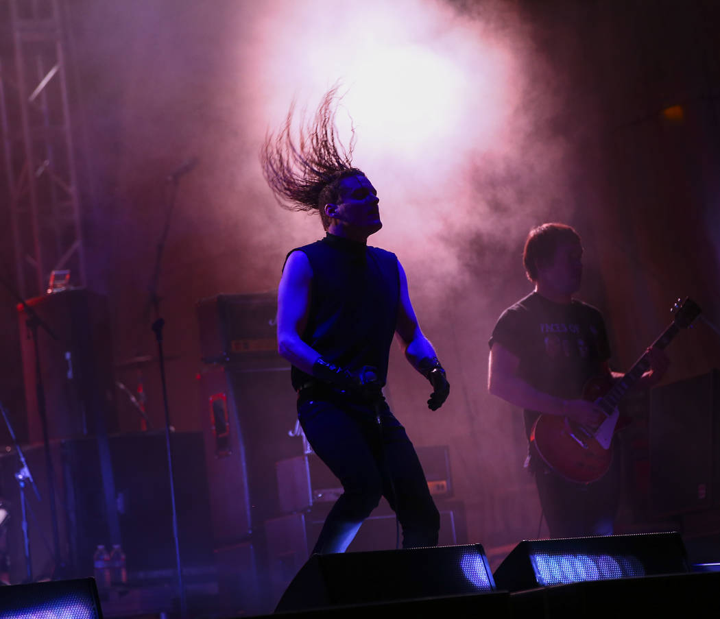George Clarke, left, and Kerry McCoy, of Deafheaven, perform at the beach stage during the Psy ...