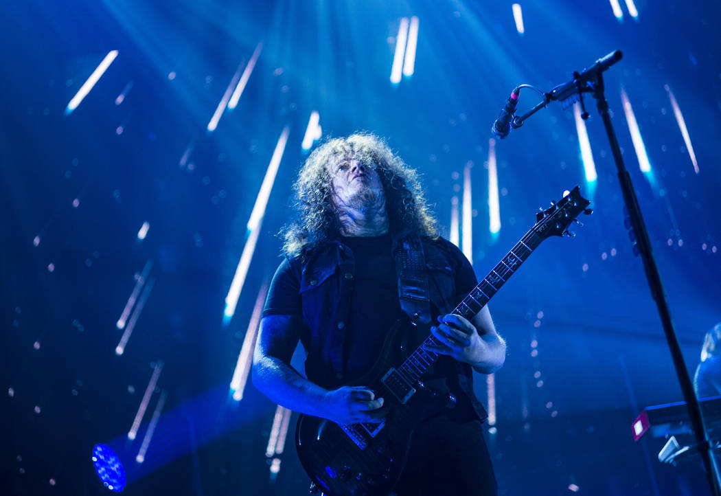 Fredrik Akesson, of Opeth, performs at the Mandalay Bay Events Center during the Psycho Las Veg ...