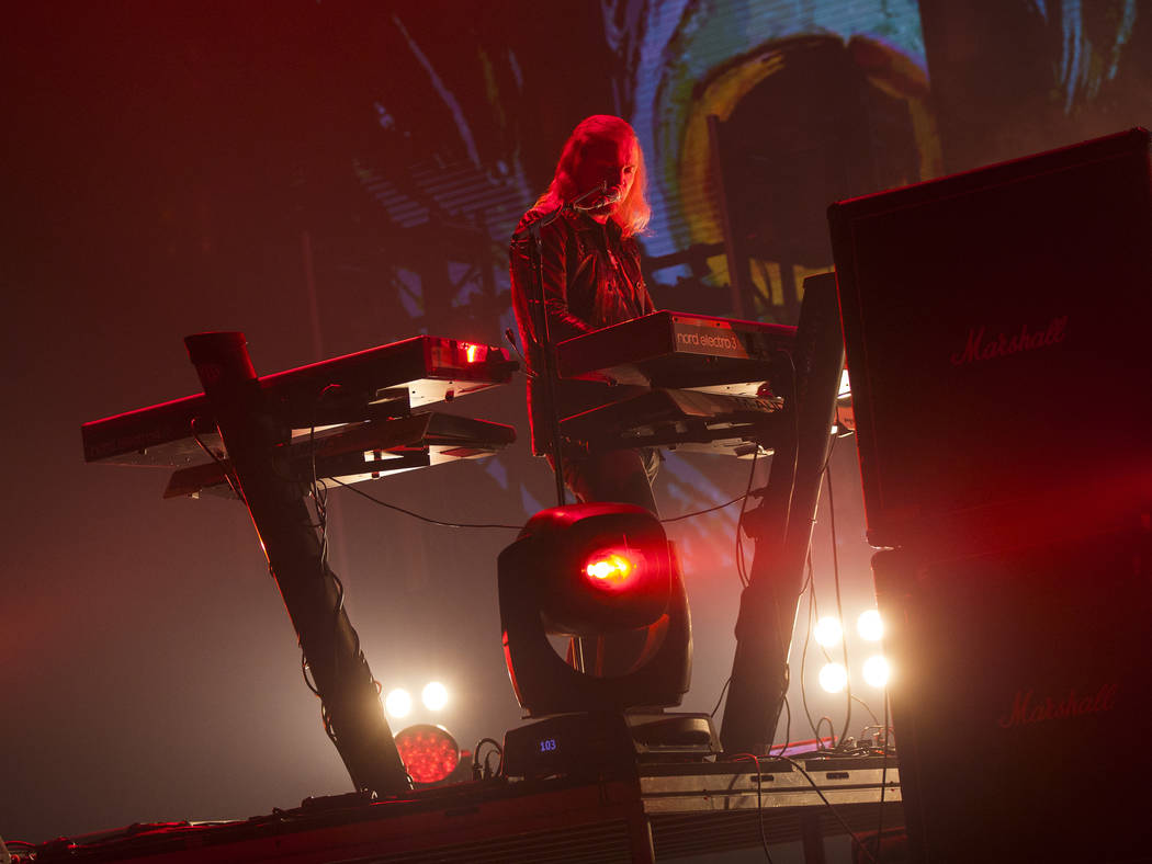 Joakim Svalberg, of Opeth, performs at the Mandalay Bay Events Center during the Psycho Las Veg ...