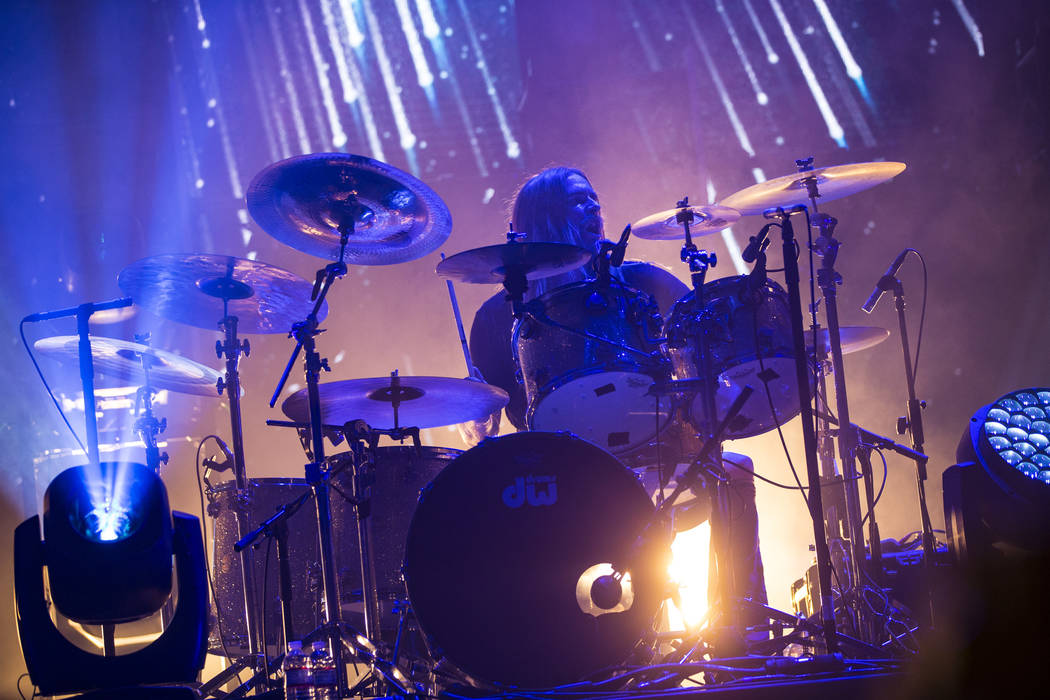 Martin Axenrot, of Opeth, performs at the Mandalay Bay Events Center during the Psycho Las Vega ...