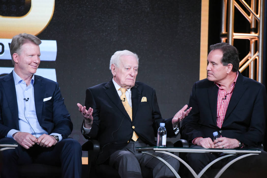 """Sportscasters Phil Simms, from left, Jack Whitaker and Jim Nantz participate in the """"CBS S ..."""