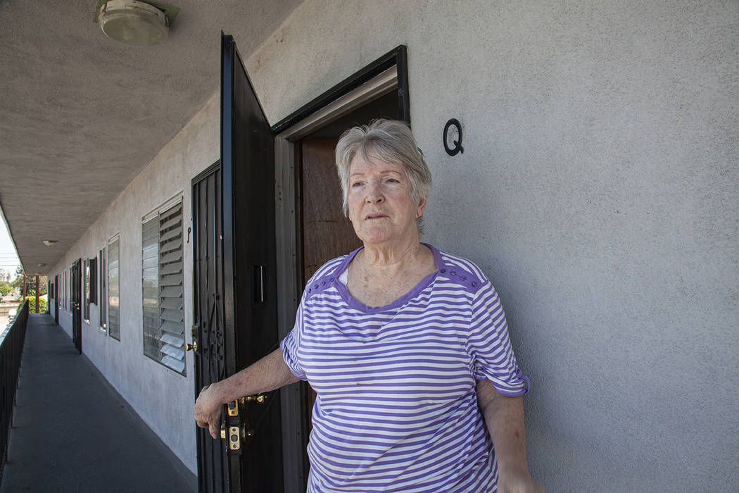 Wilma Dester outside the Bellflower, Calif. apartment where Roger Hillygus fled with his mother ...