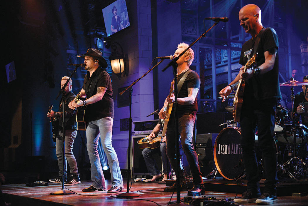 """Jason Aldean performs """"I Won't Back Down"""" on """"Saturday Night Live,"""" Oct. 7, 2017, in New York. ..."""
