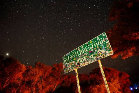 A sign advertises state route 375 as the Extraterrestrial Highway in Crystal Springs. The road ...