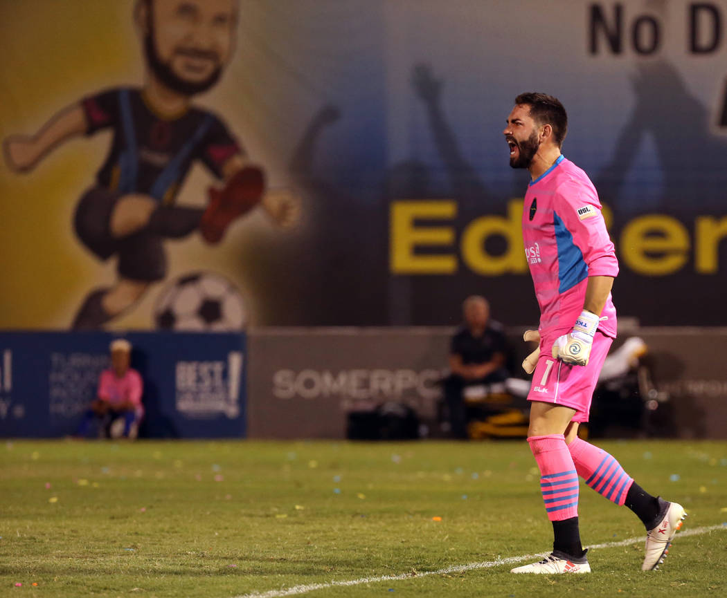 Las Vegas Lights FC goalkeeper Thomas Olsen (1) yells instructions to his teammates versus Port ...