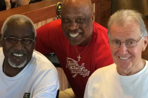 Former Pittsburgh pals and longtime Las Vegans Cle Edwards, left, Keith Starr, center, and Tim ...