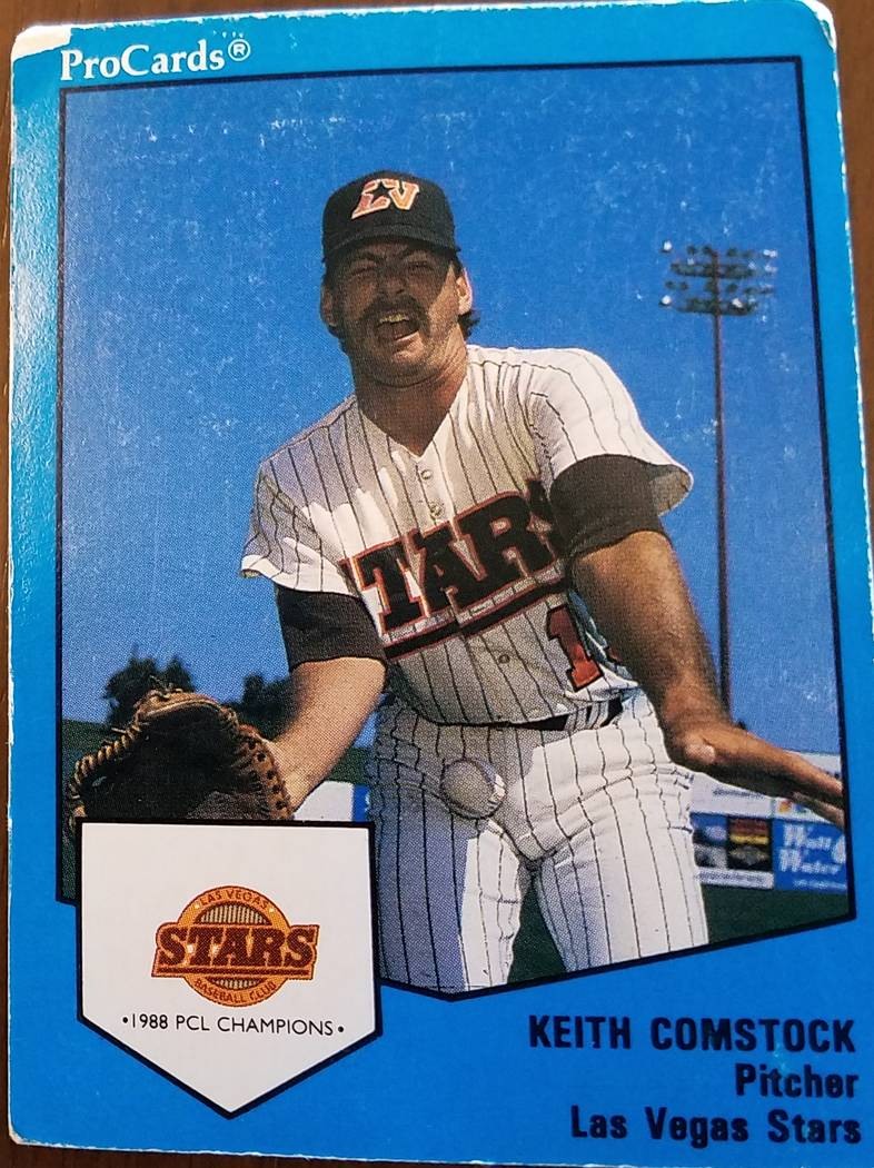 The 1988 minor league baseball card of former Las Vegas Stars relief pitcher Keith Comstock was ...