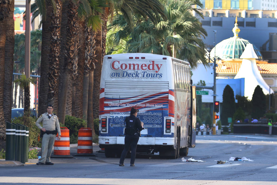 Las Vegas police are investigating after two pedestrians were injured, one critically, when the ...