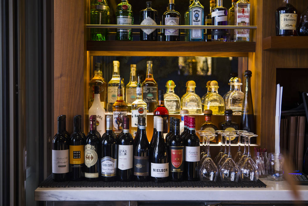 Wine and other beverages at the bar at Terra Rossa at Red Rock Resort in Las Vegas on Wednesday ...