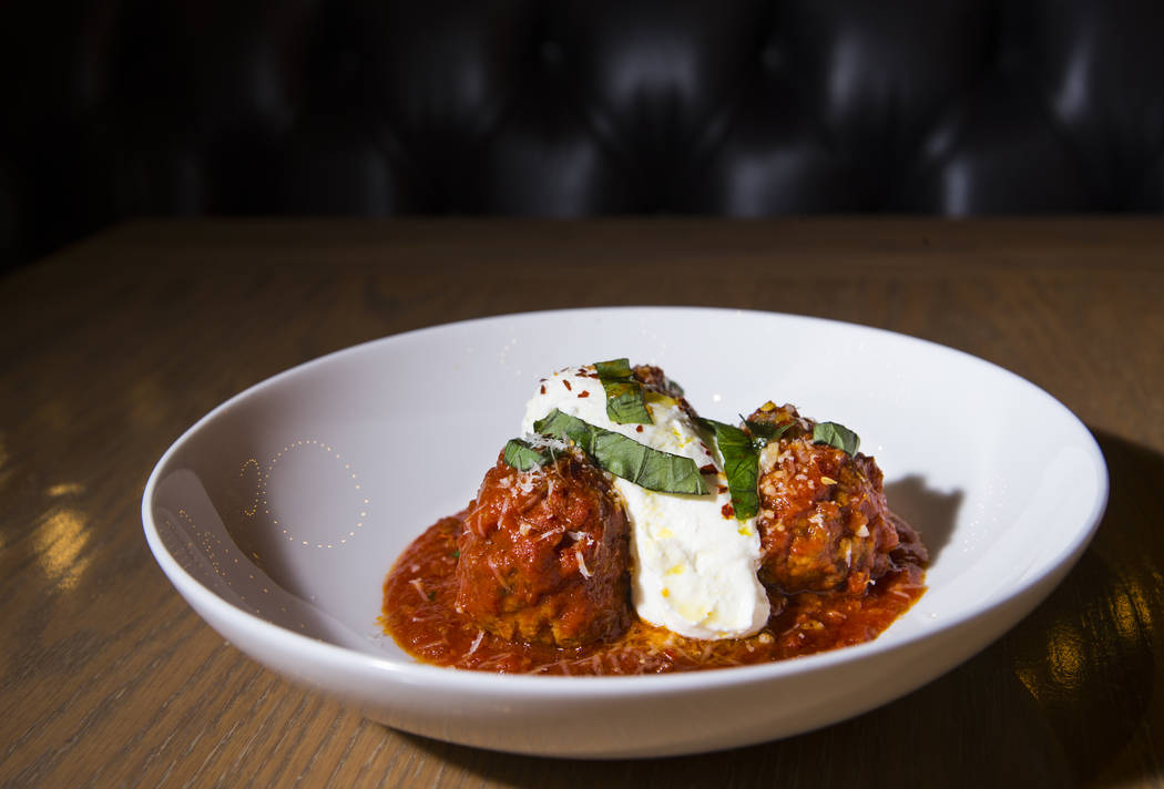 Meatballs with lemon whipped ricotta at Terra Rossa at Red Rock Resort in Las Vegas on Wednesda ...