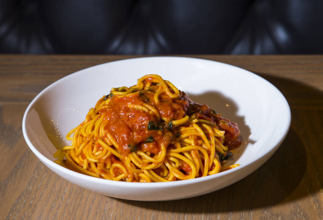 Pasta pomodoro at Terra Rossa at Red Rock Resort in Las Vegas on Wednesday, Aug. 14, 2019. (Cha ...