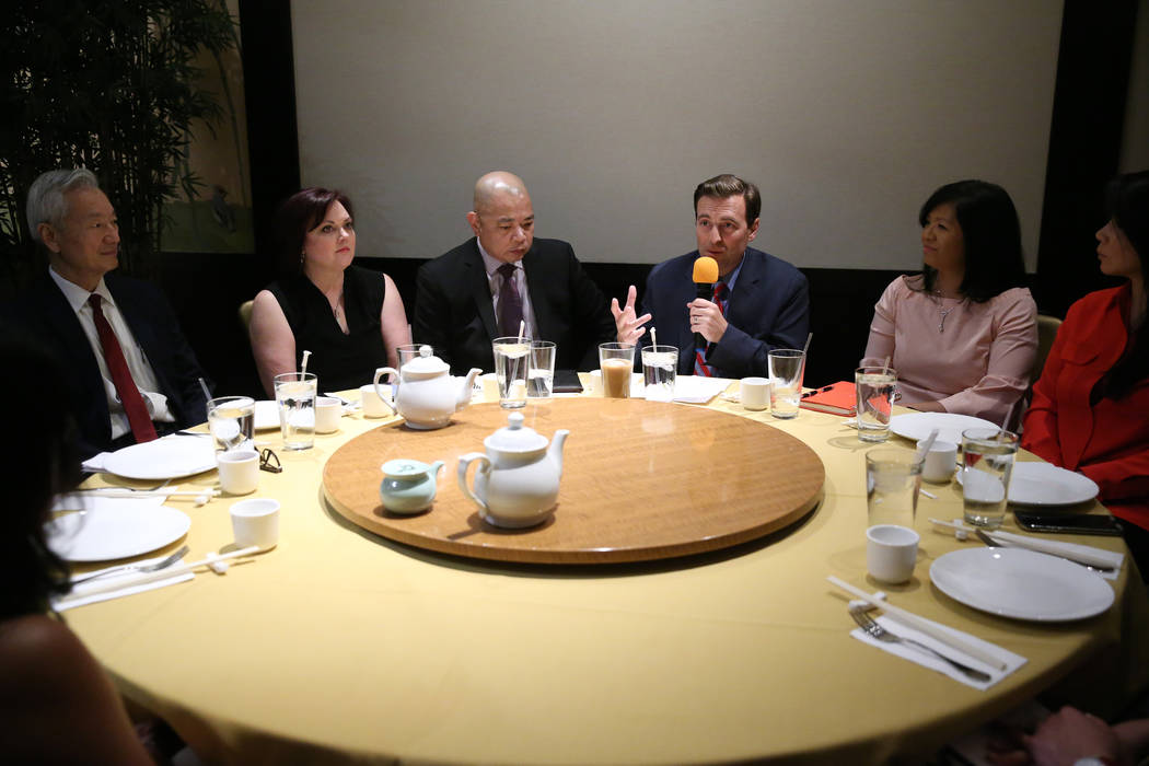 Former Nevada Attorney General Adam Laxalt, third from right, speaks during an economic roundta ...