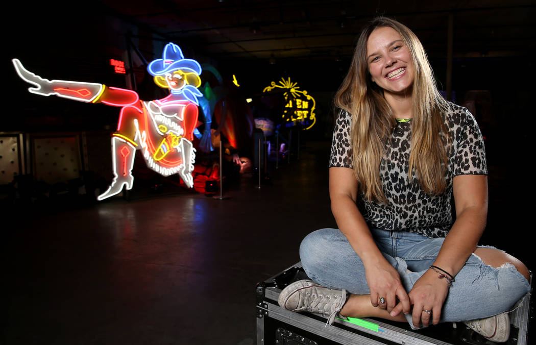 Julie Henson, artist in residence for the Neon Museum, at the museum's NE10 Studio in Las Vegas ...