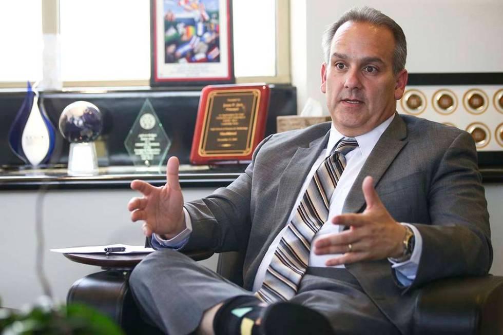 Clark County School District superintendent Jesus Jara speaks in his office in Las Vegas on Thu ...