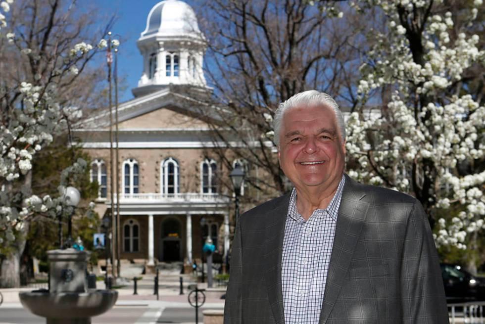 Gov. Steve Sisolak is seen at the Capitol in Carson City on April 18. (Cathleen Allison/Las Veg ...