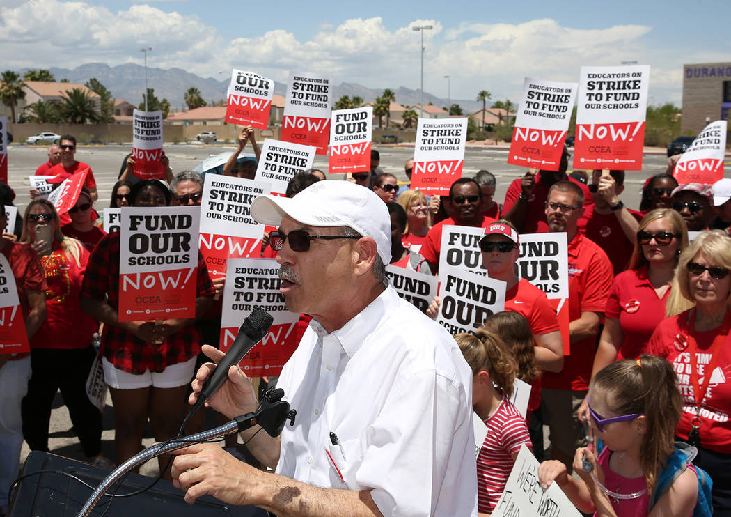 John Vellardita, the Clark County Education Association executive director, speaks as members a ...
