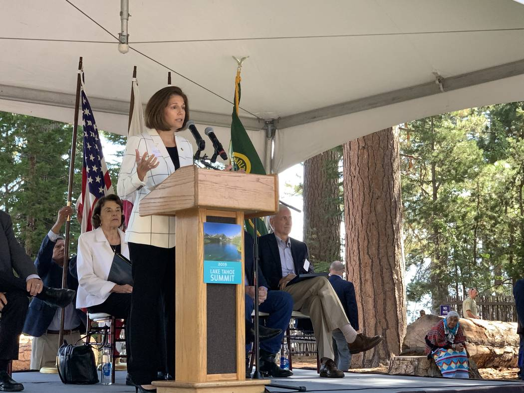 Nevada Sen. Catherine Cortez Masto at the 23rd annual Lake Tahoe Summit in South Lake Tahoe, Ca ...