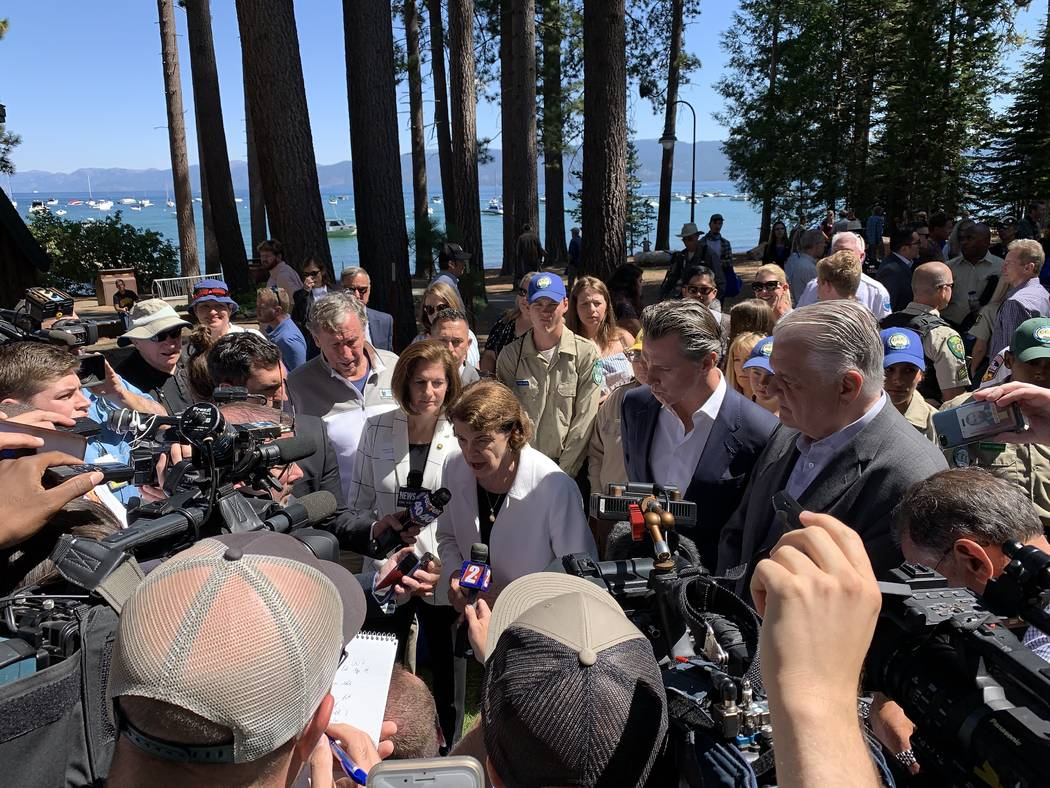Calif. Sen. Dianne Feinstein takes questions from reporters at the 23rd annual Lake Tahoe Summi ...