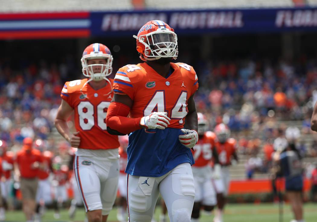Florida linebacker Rayshad Jackson (44) is in undated photo at Ben Hill Griffin Stadium in Gain ...