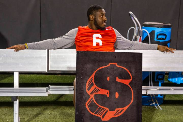 Rayshad Jackson (6) sits on the bench during the UNLV football team scrimmage at Sam Boyd Stadi ...