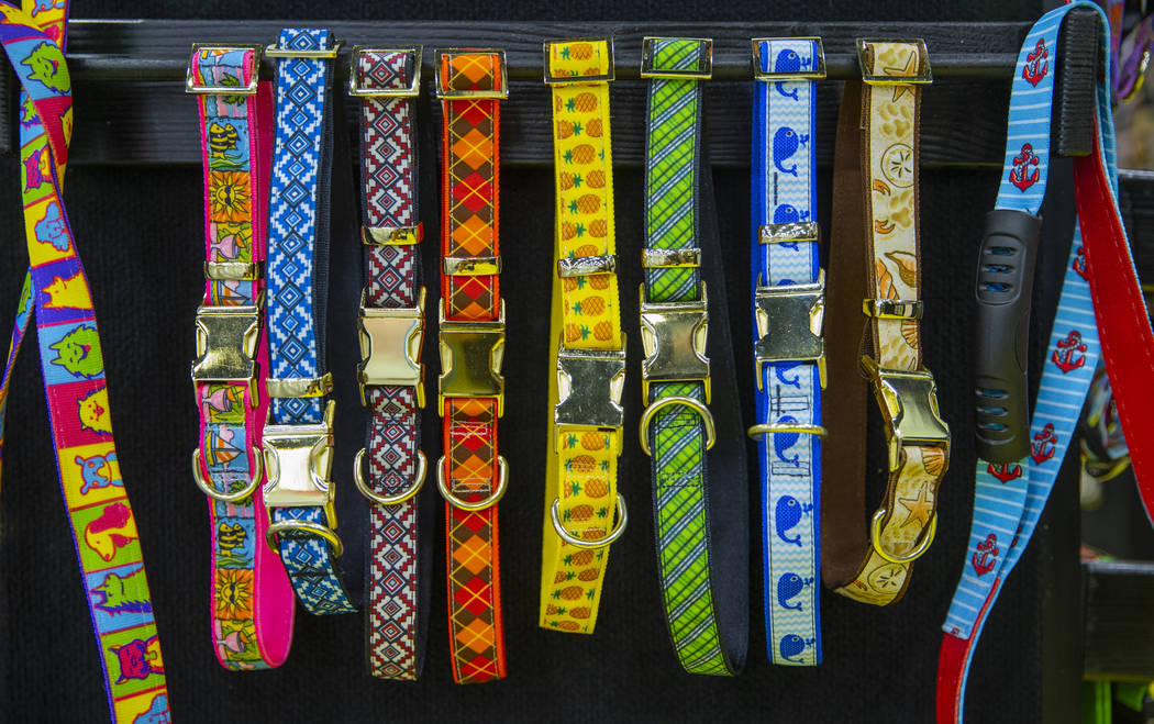Ribbon Collars are some of the colorful items at the SuperZoo pet products show in the Mandalay ...