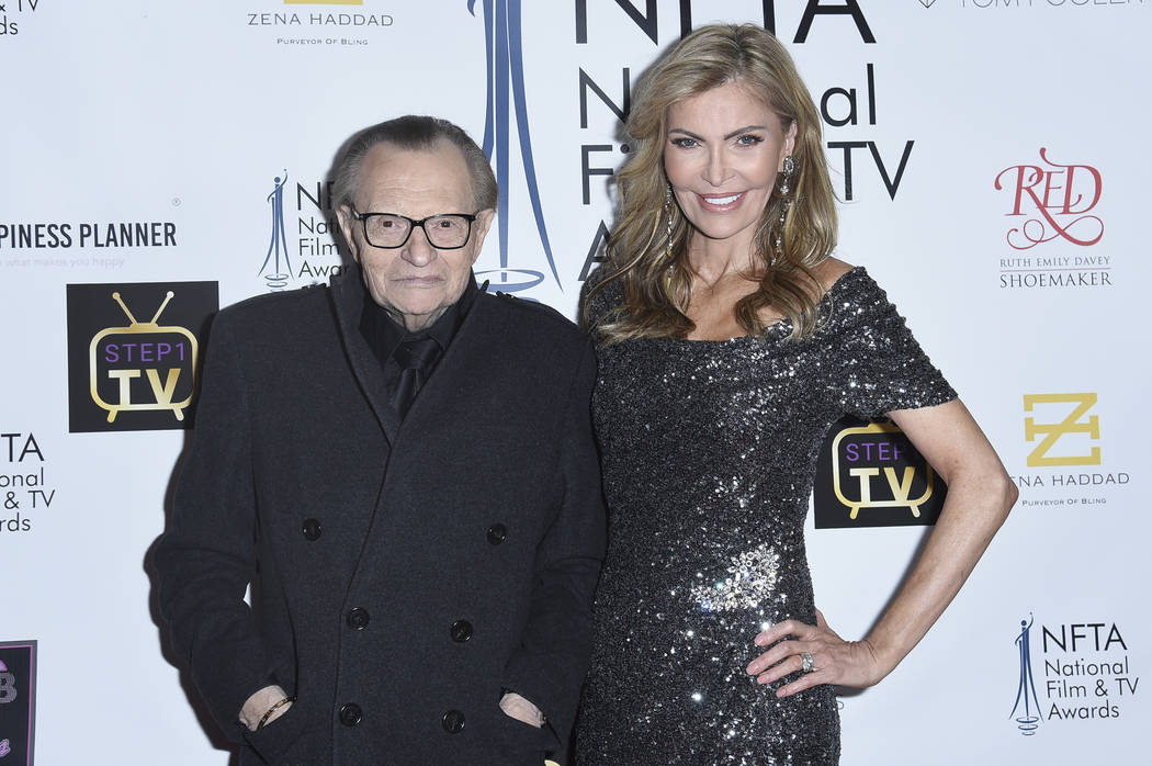 FILE - In this Dec. 5, 2018 file photo Larry King, left, and Shawn King attend the 2018 Nationa ...