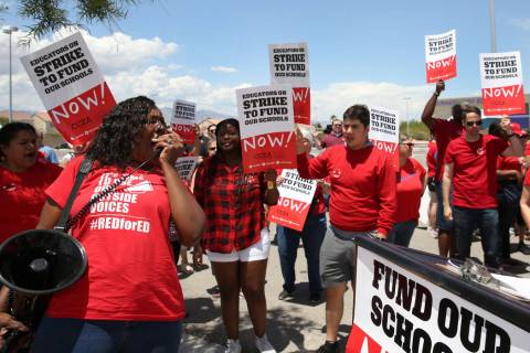 Linda Jones shouts slogans during a rally with educators from the Clark County Education Associ ...