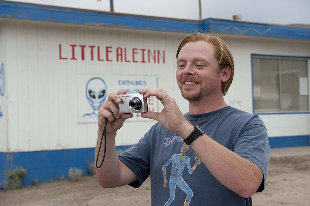 """""""Paul"""" co-star Simon Pegg is shown in front of the Little A'Le'Inn in Rachel. (2010 Universal S ..."""