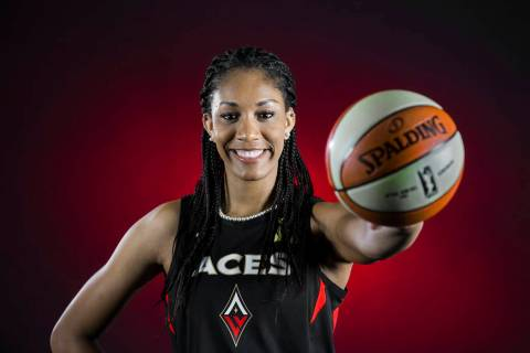 Aces center A'ja Wilson during media day on Monday, May 13, 2019, at Mandalay Bay Events Center ...