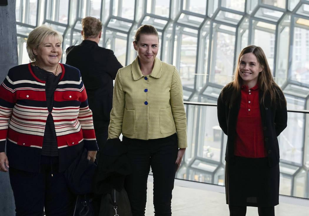 From left, Norway's Prime Minister Erna Solberg, Denmark's Prime Minister Mette Frederiksen and ...