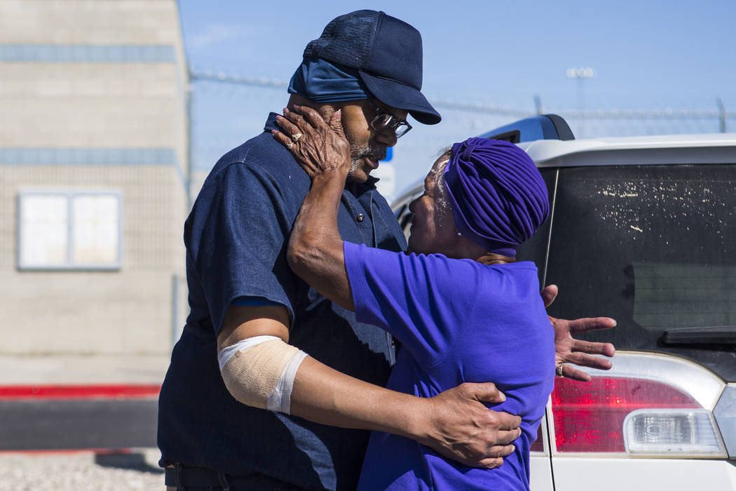 Paul Browning greets his mother, Betty, after being released from Ely State Prison on Wednesday ...