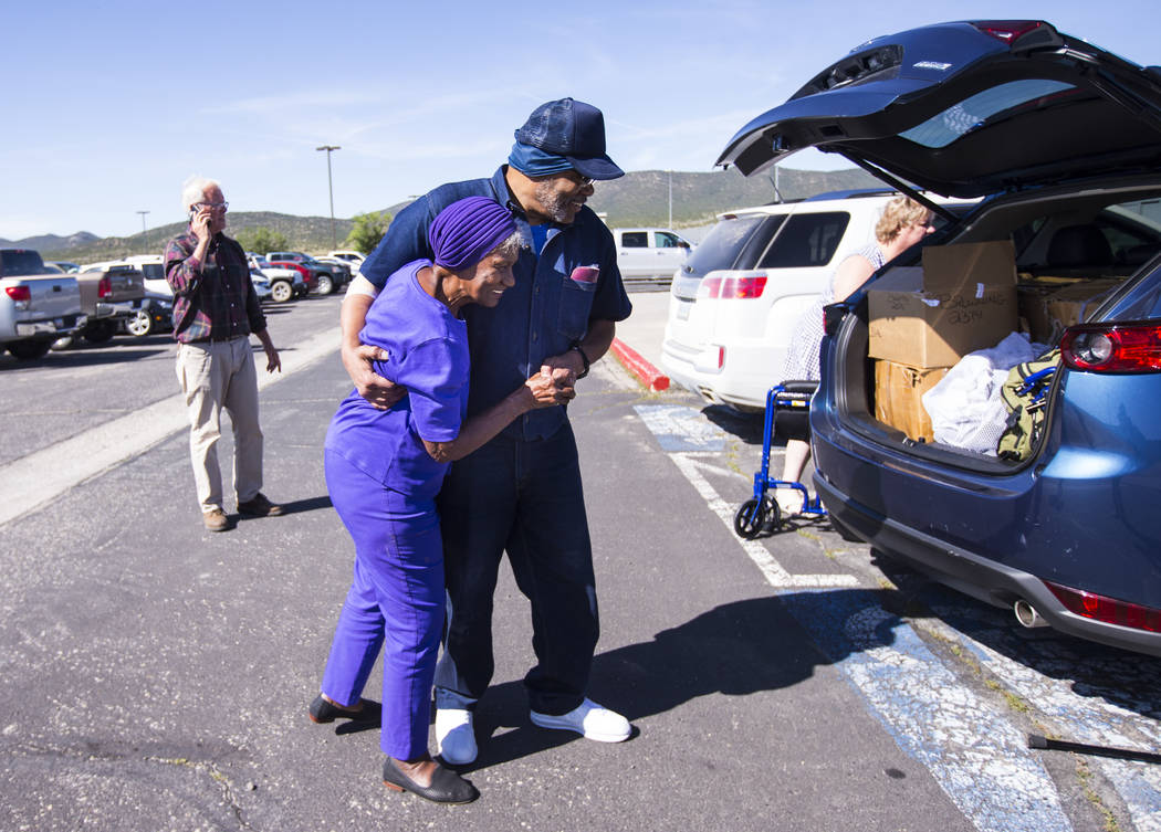 Paul Browning talks with his mother, Betty, after being released from Ely State Prison on Wedne ...
