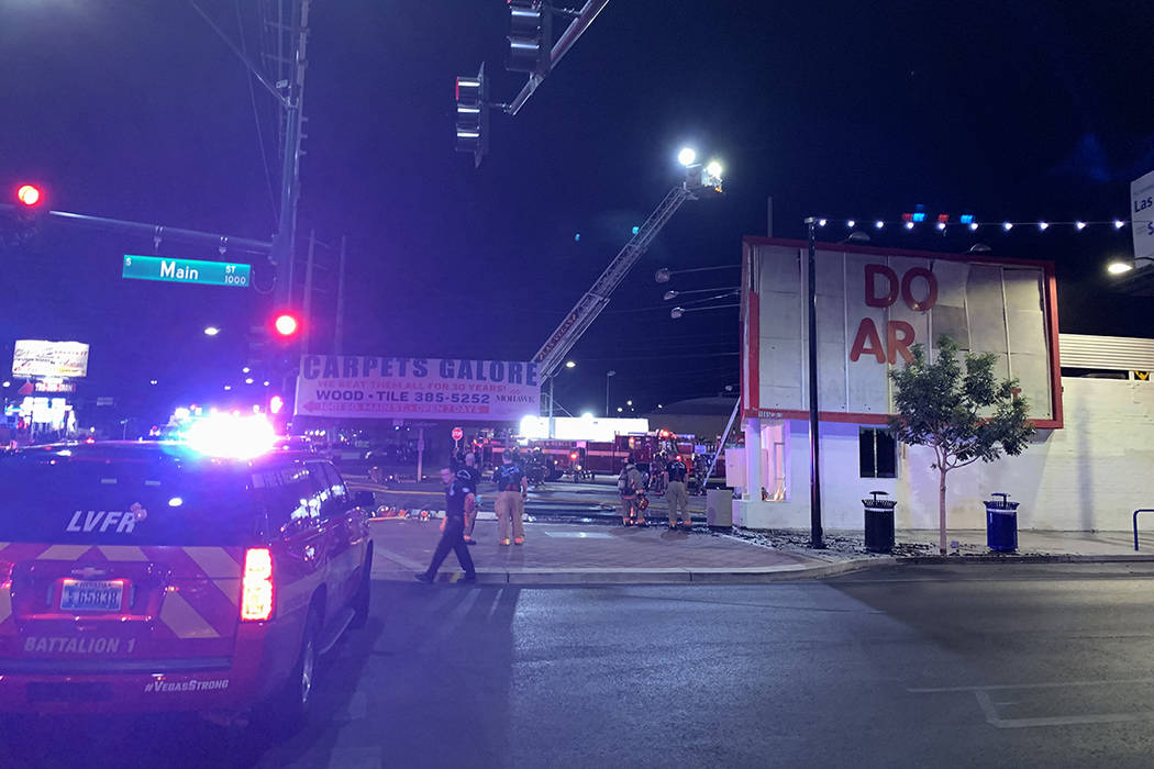 Crews respond to a fire Tuesday, Aug. 20, 2019, on the 1000 block of Main Street in downtown La ...
