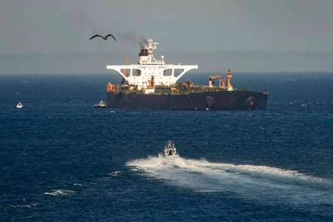 A supertanker hosting an Iranian flag is seen on the water in the British territory of Gibralta ...