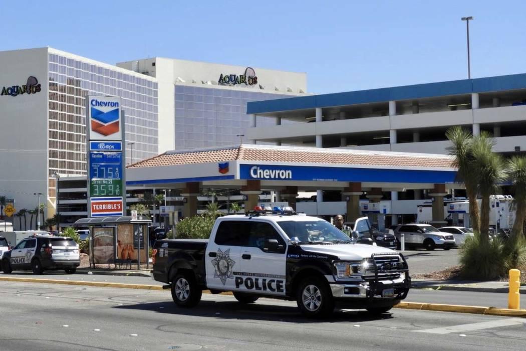 Metropolitan Police Department investigates an officer-involved shooting at the Aquarius Casino ...
