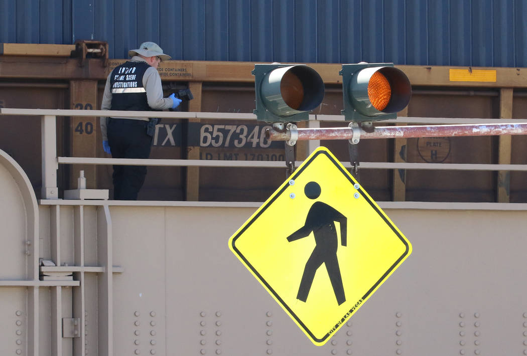 Las Vegas police are investigating after a person was struck and killed by a train near downtow ...