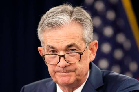 In a July 31, 2019, file photo, Federal Reserve Chairman Jerome Powell speaks during a news con ...
