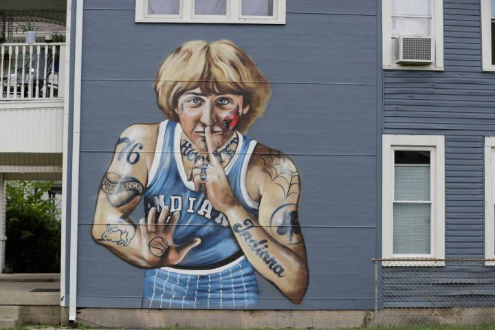 A mural of former NBA star Larry Bird is seen on the side of a multi-family residence in Founta ...