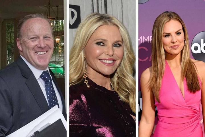 Former White House press secretary Sean Spicer, from left, model Christie Brinkley and Hannah B ...